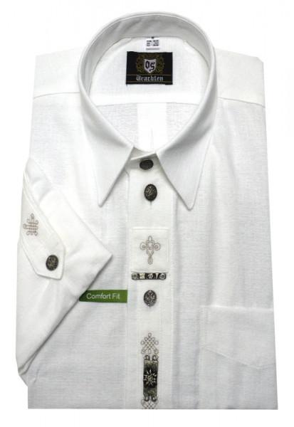 Orbis Trachten Hemd weiß +Stick +Metall-Zierteile OS-0216 Comfort Fit