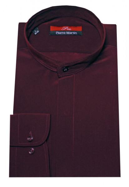 Stehkragen Hemd wein-rot verdeckte Knopfleiste von Pierre Martin