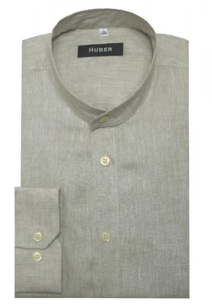 HUBER Stehkragen Hemd beige 100% Leinen feiner Stoff Regular Fit HU-0467