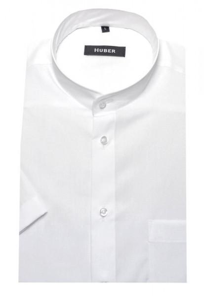HUBER Stehkragen Hemd weiß Kurzarm bügelleicht HU-0125 Regular Fit