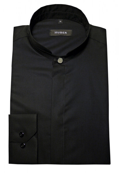 Stehkragen Hemd schwarz von HUBER mit Zierknopf am Kragen bügelleicht