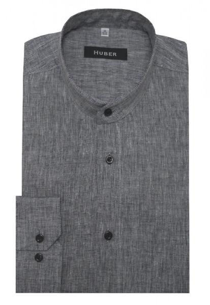 HUBER Stehkragen Hemd grau 100% Leinen nachhaltige Naturfaser HU-0460 Regular