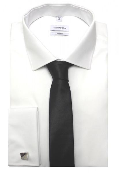Seidensticker Umschlag-Manschetten Hemd weiß inkl. Krawatte +Mansch.knöpfe SR-2020 Shaped/Tailored