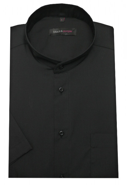 Stehkragen Hemd schwarz Kurzarm BP-0069 Regular