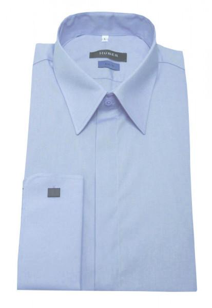 HUBER Umschlag-Manschetten Hemd blau HU-0363 Slim Fit