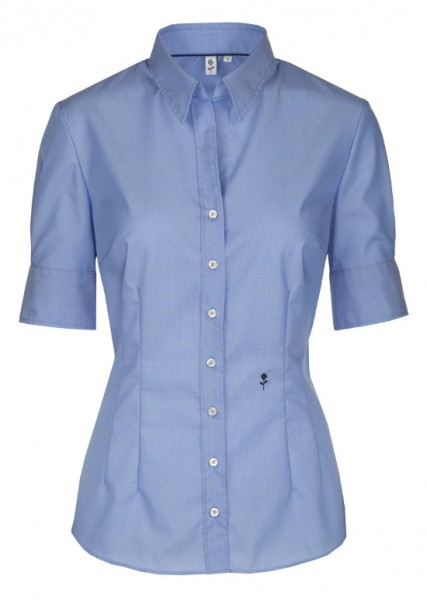 Damen Bluse blau Kurzarm bügelfrei Seidensticker Slim Line