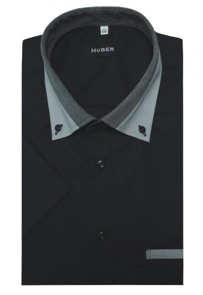 HUBER Kurzarm Hemd schwarz mit Kontrast Button-down-Kragen HU-0152 Regular