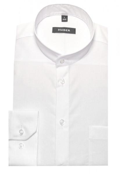 HUBER Stehkragen Hemd weiß Baumwolle bügelleicht HU-0008 Regular