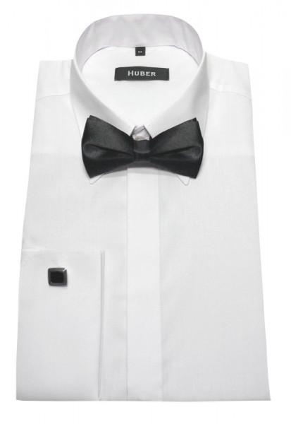 Slim Fit Umschlag-Manschetten Hemd weiß von HUBER mit Fliege