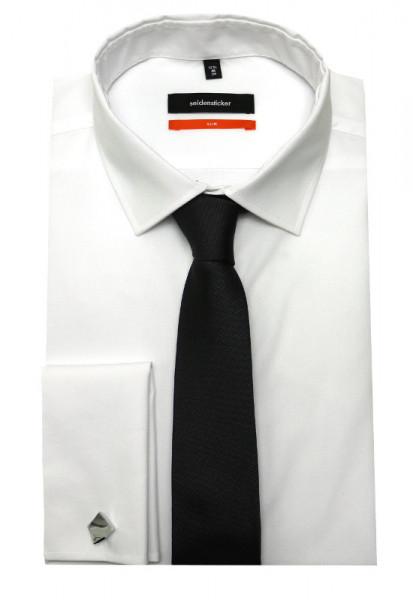Umschlag-Manschetten Hemd weiß Seidensticker+Krawatte+Mansch.Knopf