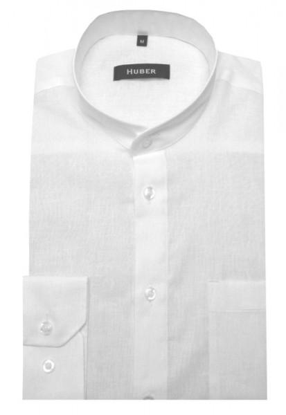 HUBER Stehkragen Hemd weiß feines Halbleinen HU-0430 Regular