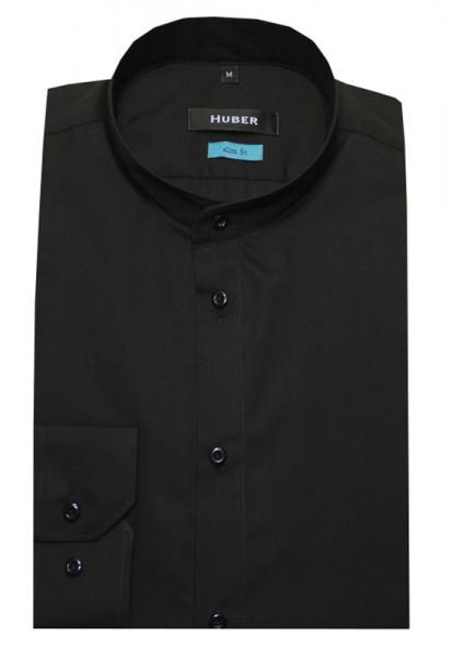 HUBER Stehkragen Hemd schwarz Slim Fit bügelleicht HU-0382