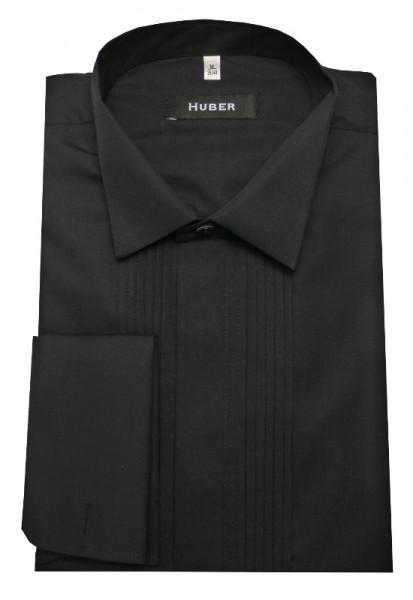 HUBER Smoking Hemd schwarz mit Biesen HU-0172 Regular