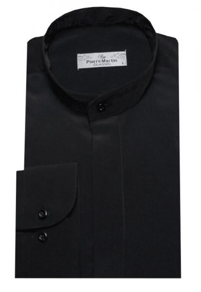 Stehkragen Hemd schwarz verdeckte Leiste DP-0002 Regular
