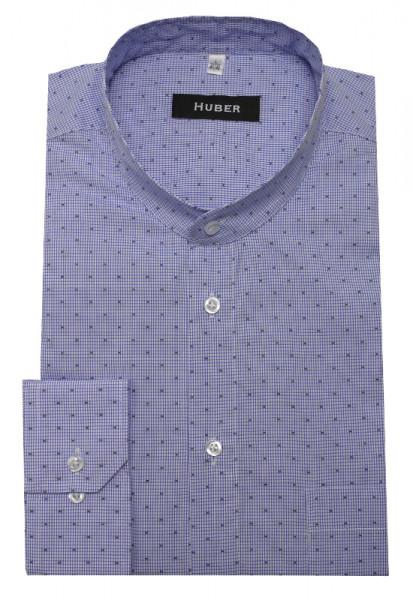 Stehkragen Hemd weiß blau kariert von HUBER
