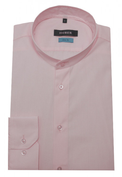 Slim Fit Stehkragen Hemd rosa-ton bügelleicht von HUBER