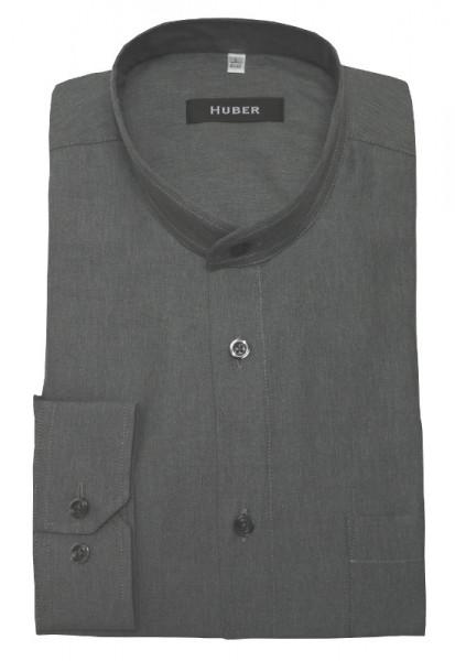 HUBER Stehkragen Hemd grau weicher Flanell HU-90402 Regular