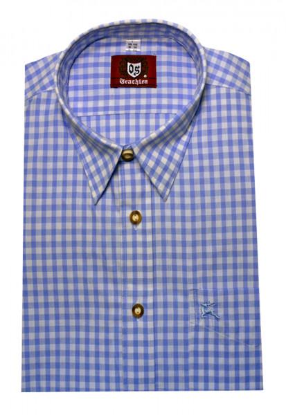 Orbis Trachten Hemd hell-blau weiß kariert Krempelarm OS-0063 Regular