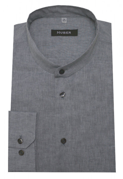 HUBER Stehkragen Leinen Hemd grau Halbleinen HU-0435 Regular