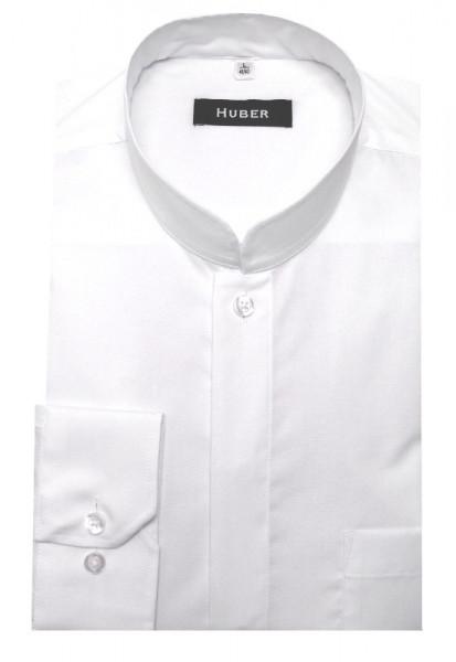 Stehkragen Hemd weiß von HUBER Asia-Kragen bügelleicht