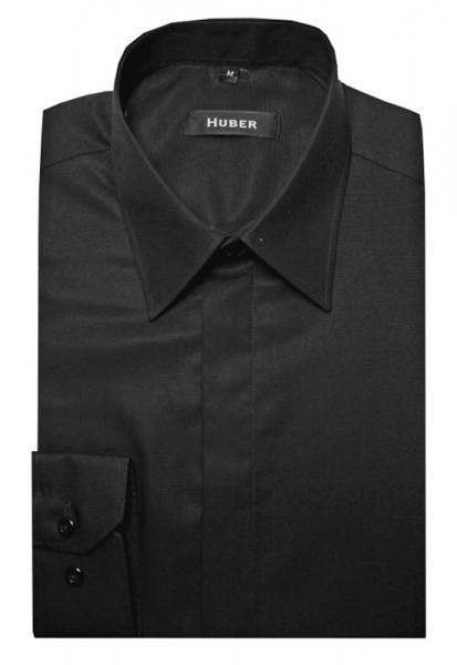HUBER Festliches Hemd schwarz verdeckte Leiste HU-0082 Regular