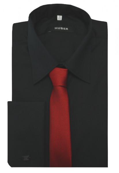 HUBER Umschlag-Manschetten Hemd schwarz inkl.Krawatte rot HU-5312 Regular