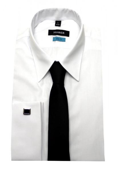Slim Fit Umschlag-Manschetten Hemd weiß von HUBER mit Krawatte
