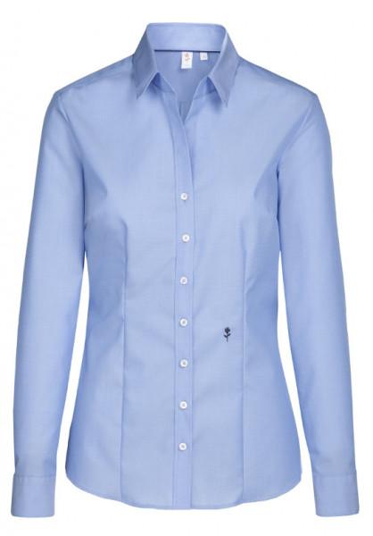 Seidensticker Damen Bluse blau Schwarze Rose bügelfrei SB-0006 Slim Line