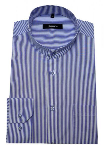Stehkragen Hemd weiß blau gestreift von HUBER