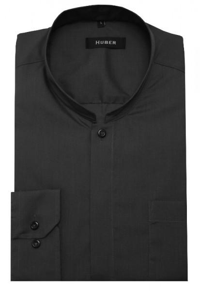 HUBER Stehkragen Hemd grau mit Asia Kragen HU-0073 Regular Fit