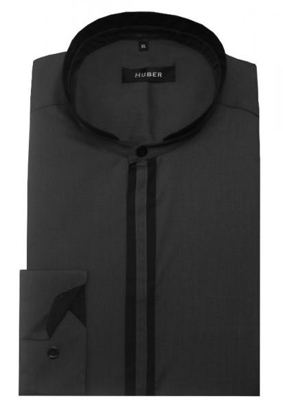 HUBER Stehkragen Hemd grau-schwarz HU-0086 Regular