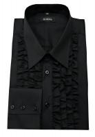 Rüschen Hemd schwarz von HUBER Baumwoll-Mischung bügelleicht