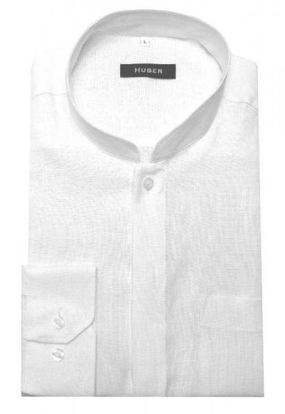 HUBER Stehkragen Hemd weiß 100% Leinen Mandarin Kragen HU-0571 Regular