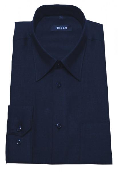 Leinen Hemd marine dunkel blau von HUBER Kent-Kragen
