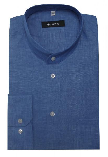 HUBER Stehkragen Hemd blau 100% Leinen HU-0043 Regular