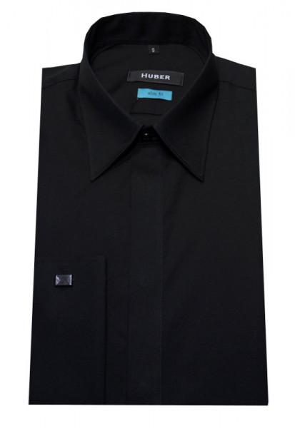 HUBER Umschlag-Manschetten Hemd schwarz HU-0362 Slim Fit