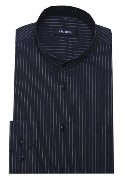 HUBER Stehkragen Hemd schwarz weiß gestreift HU-0038 Regular