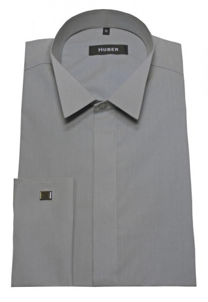 Smoking Hemd grau von HUBER verdeckte Knopfleiste