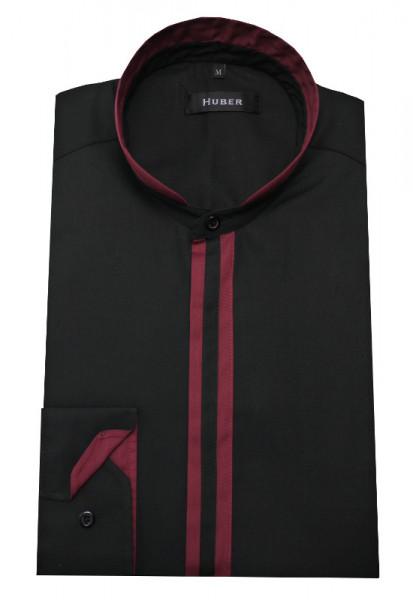 Stehkragen Hemd schwarz-weinrot von HUBER