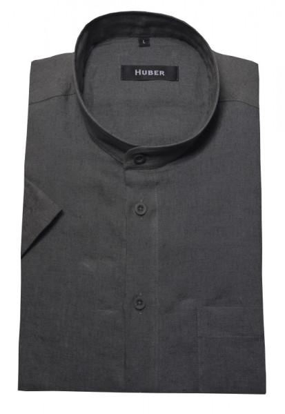 HUBER Stehkragen Leinen Hemd grau Kurzarm HU-0113