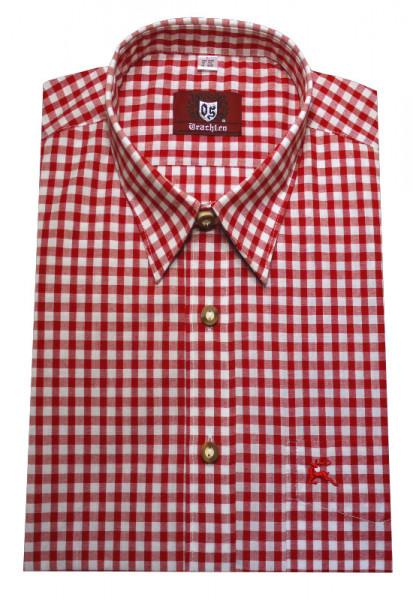 Orbis Trachten Hemd rot weiß kariert Langarm Kent OS-0071 Regular Fit