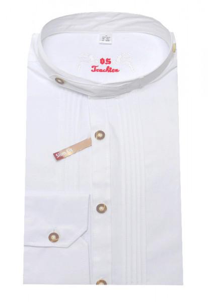 Orbis Trachtenhemd Stehkragen weiß mit Biesen OS-0130 Slim Fit