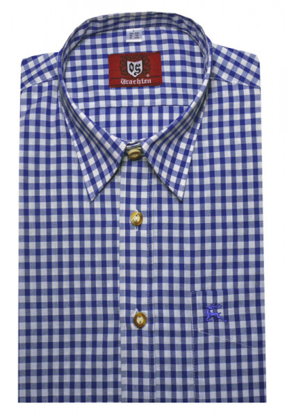 Orbis Trachtenhemd blau kariert Krempelarm OS-0061 Regular Fit