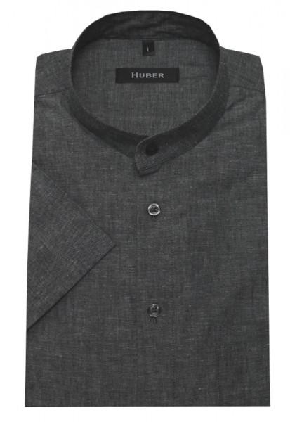 HUBER Stehkragen Leinen Kurzarm Hemd grau HU-0131 Regular
