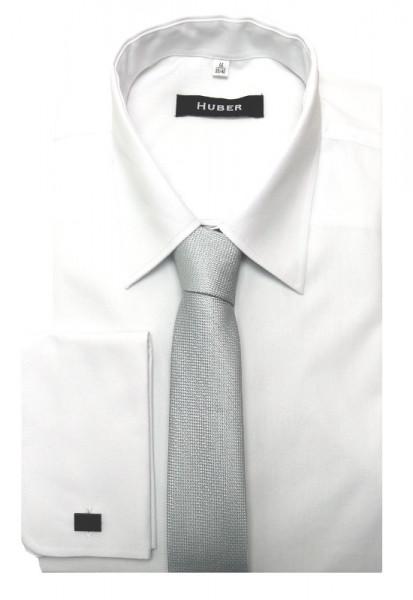 HUBER Umschlag-Manschetten Hemd weiß inkl.Krawatte silbergrau HU-5111 Regular