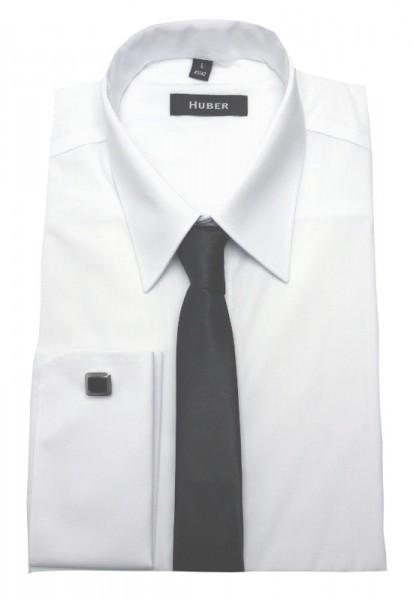 Umschlag-Manschetten Hemd weiß von HUBER +Krawatte +Manschettenknöpfe
