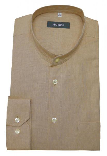 HUBER Stehkragen Hemd beige camel HU-0403 Regular