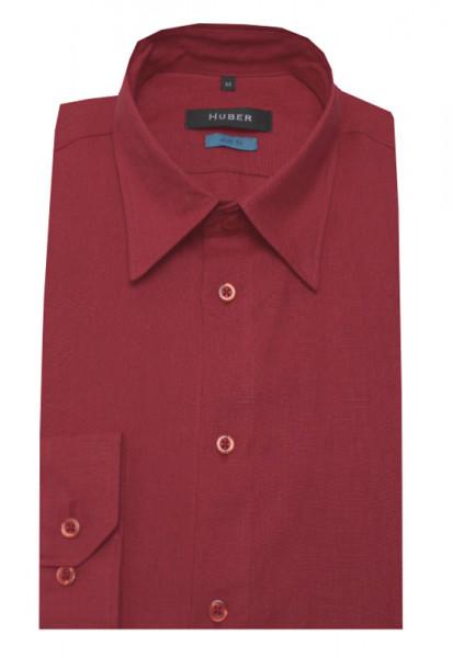 HUBER Leinen Hemd rot weinrot HU-0376 Slim Fit