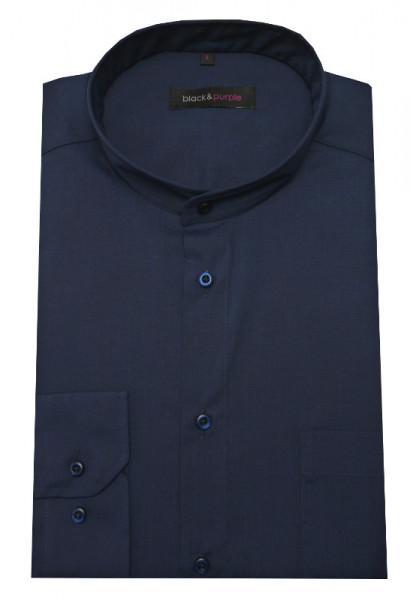 HUBER Stehkragen Hemd dunkelblau bügelleicht Label Black & Purple HU-0654 Regular Fit