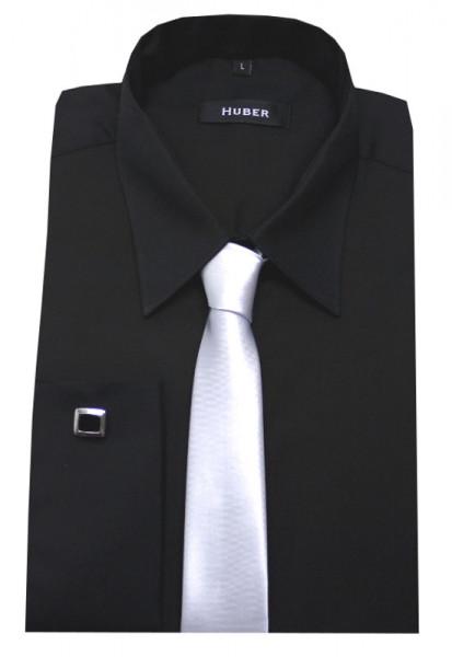 HUBER Umschlag-Manschetten Hemd schwarz+Krawatte+Mansch.Knopf HU-5012 Regular